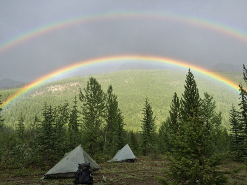 Double Rainbow Camping with evening shower near the Amiskwi River, PC Elizabeth Morton