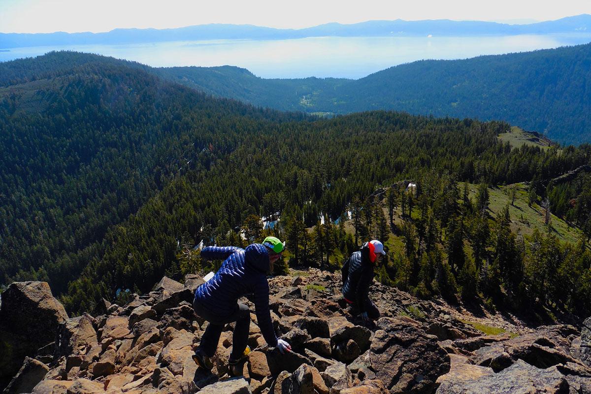 Scramble down Twin Peaks side trip, Tahoe Rim Trail