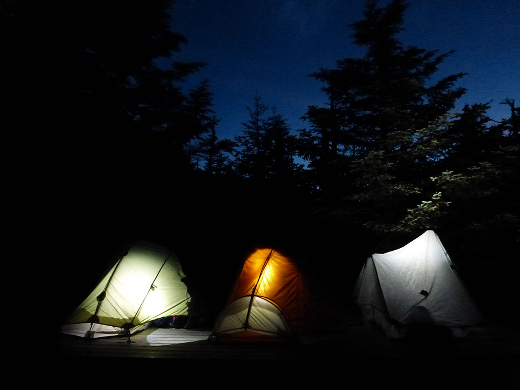 Tents aglow in Maine