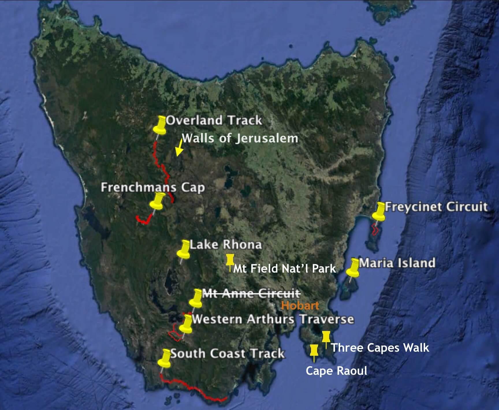 Possible Tasmania Hiking Locations
