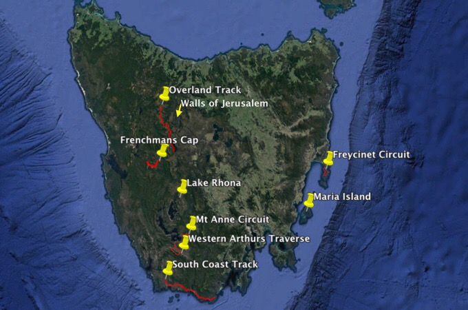 Possible Tasmania Hiking Locations
